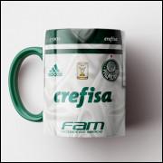 Caneca Palmeiras - Camisa Branca - Deca Campeão Brasileiro 2018 - Porcelana 325ml