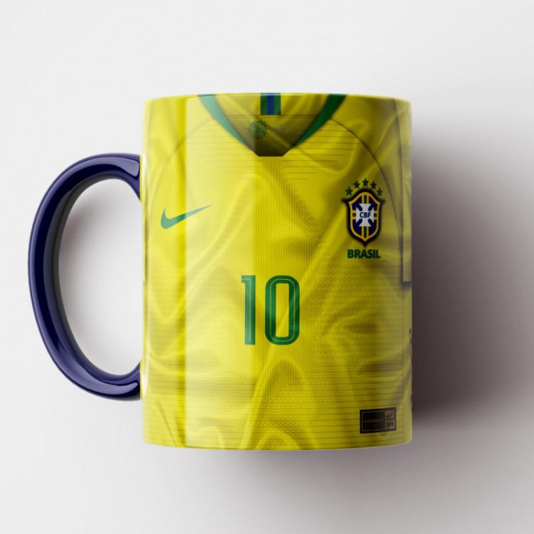 Caneca Brasil - Camisa Amarela 2018 - Porcelana 325ml