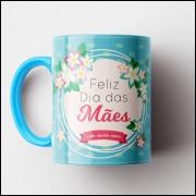 Caneca Feliz Dia das Mães - Turquesa - Porcelana 325ml