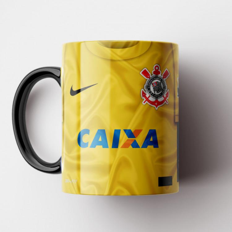 Caneca Corinthians - Camisa Goleiro - Bi-Campeão Mundial 2012 - Cássio - Porcelana 325ml