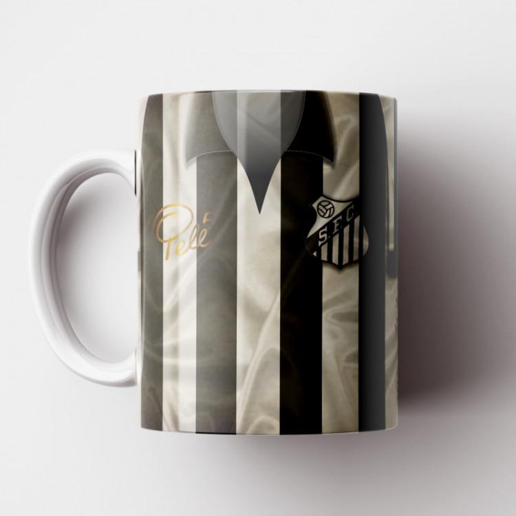 Caneca Santos - Camisa Listrada - Bi-Mundial 1962/63 - Porcelana 325ml