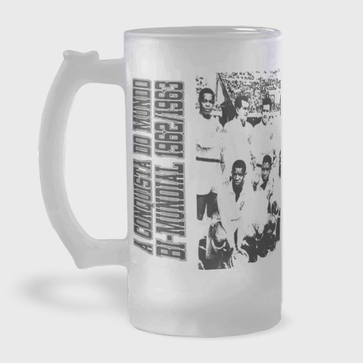 Caneca de Chopp do Santos - Bi-Mundial 1962/1963 - Vidro Jateado 475ml