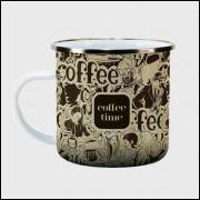 Caneca Cantinho do Café Retrô - Coffee Time - Ágata 300ml