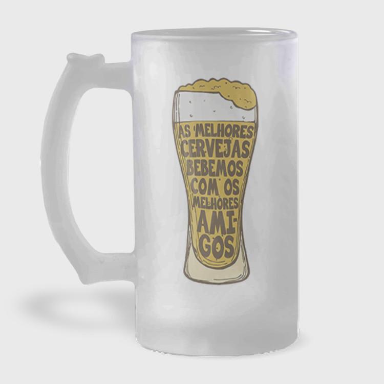 Caneca de Chopp - As Melhores Cervejas Bebemos Com Os Melhores Amigos - Vidro Jateado 475ml