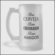 Caneca de Chopp - Boa Cerveja Bom Churrasco Bons Amigos - Vidro Jateado 475ml