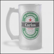 Caneca de Chopp Personalizada - Heineken - Vidro Jateado 475ml