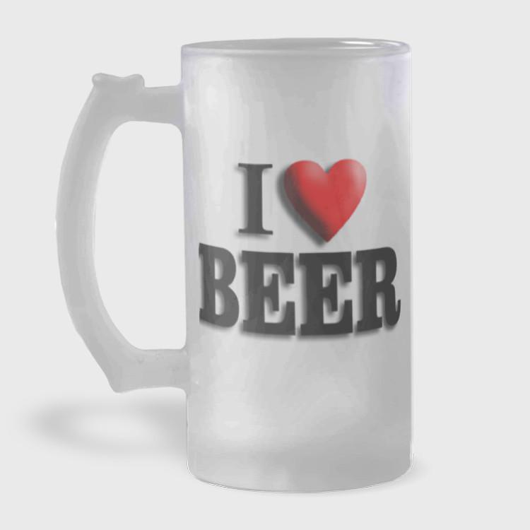 Caneca de Chopp - I Love Beer - Vidro Jateado 475ml