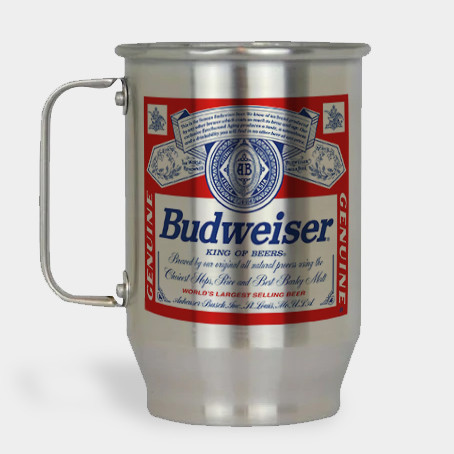 Caneca de Chopp - Budweiser - Alumínio Escovado 600ml