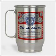 Caneca de Chopp Personalizada - Budweiser - Alumínio Escovado 600ml
