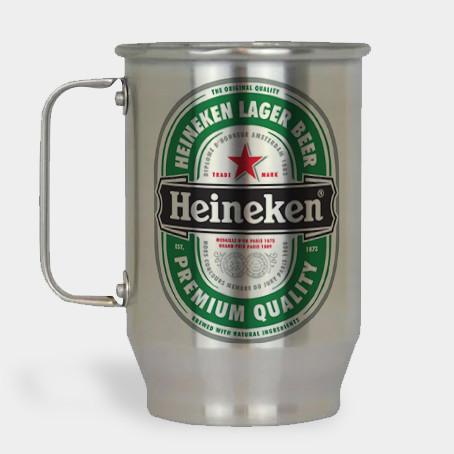 Caneca de Chopp - Heineken - Alumínio Escovado 600ml