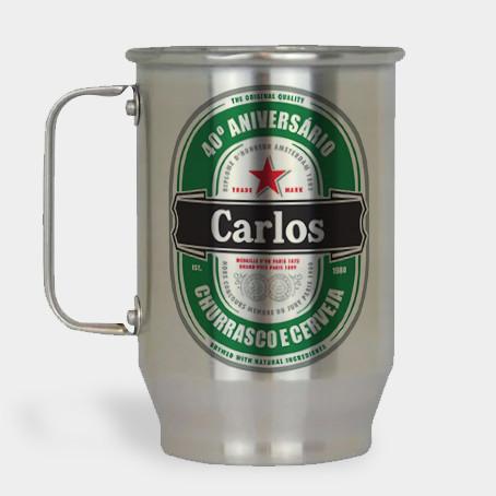 Caneca de Chopp Personalizada - Heineken - Alumínio Escovado 600ml