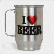 Caneca de Chopp - I Love Beer - Alumínio Escovado 600ml