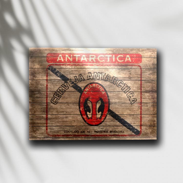 Placa Decorativa Cerveja Antarctica Retrô - MDF 6 mm - Tam. 28 x 20 cm