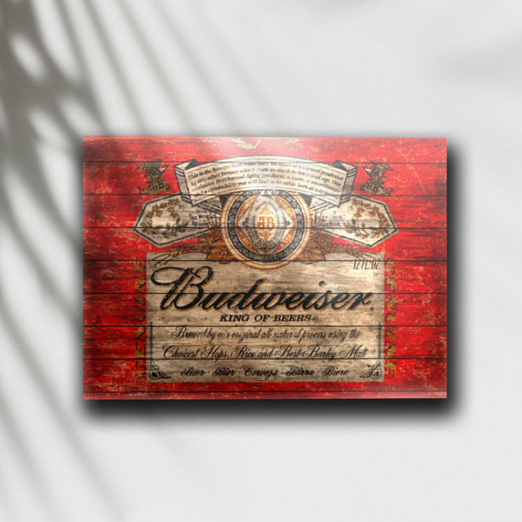 Placa Decorativa Cerveja Budweiser Retrô - MDF 6 mm - Tam. 28 x 20 cm