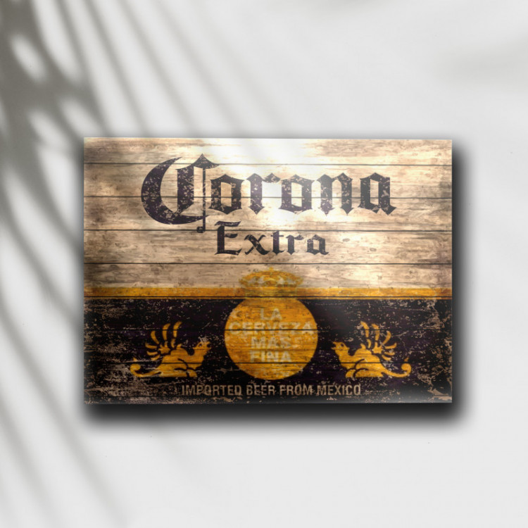 Placa Decorativa Cerveja Corona Retrô - MDF 6 mm - Tam. 28 x 20 cm