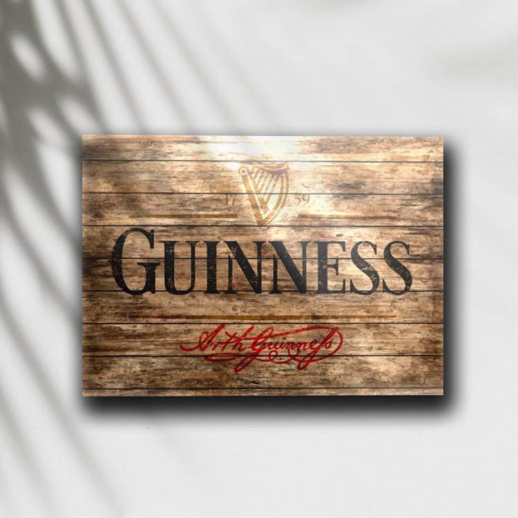 Placa Decorativa Cerveja Guinness Madeira - MDF 6 mm - Tam. 28 x 20 cm