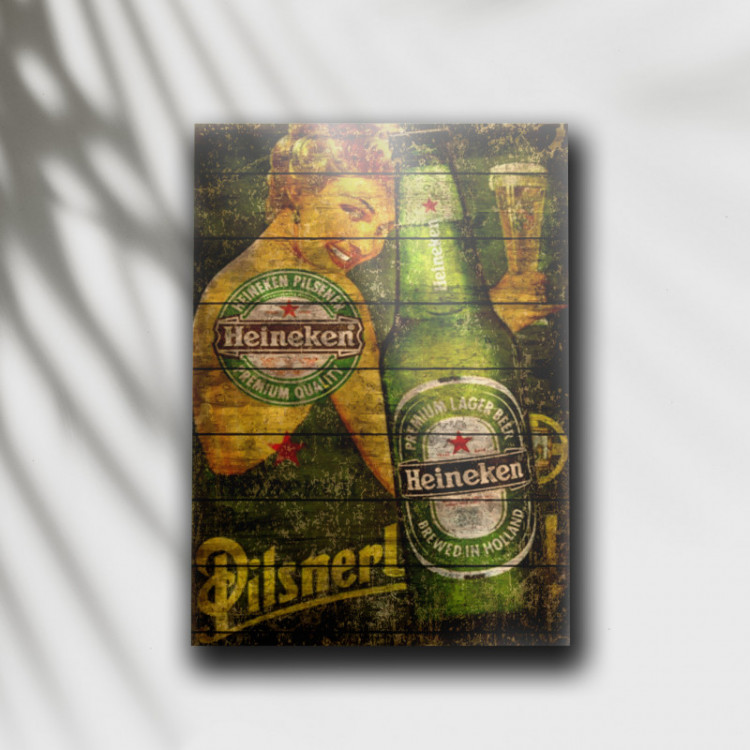 Placa Decorativa Cerveja Heineken Retrô 1 - MDF 6 mm - Tam. 28 x 20 cm