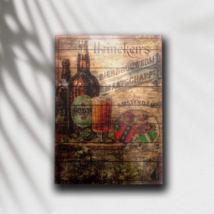 Placa Decorativa Cerveja Heineken Retrô 2 - MDF 6 mm - Tam. 28 x 20 cm