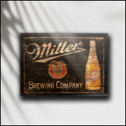Placa Decorativa Cerveja Miller Retrô - MDF 6 mm - Tam. 28 x 20 cm
