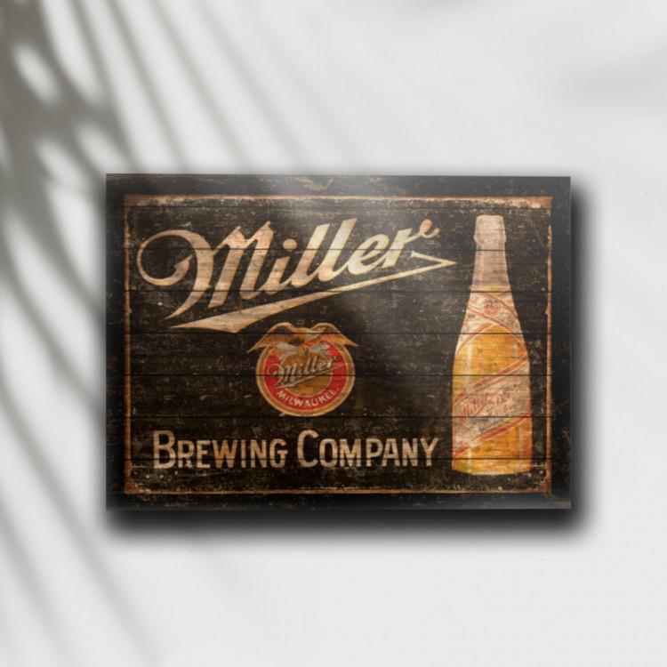 Placa Decorativa Cerveja Miller Retrô - MDF 6 mm - Tam. 28 x 20 cm