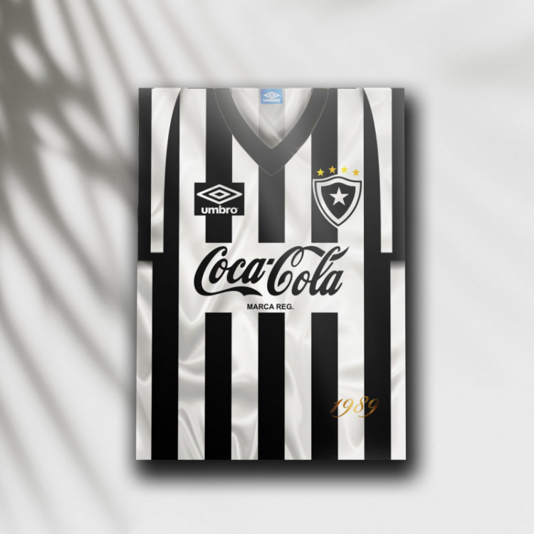 Placa Decorativa Botafogo - Camisa 1989 Fim do Jejum - MDF 6 mm - Tam. 28 x 20 cm