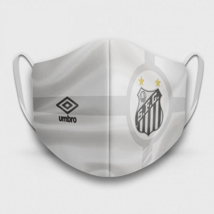 Máscara de Proteção Respiratória do Santos - Modelo Camisa Branca - Tecido 100% Poliester