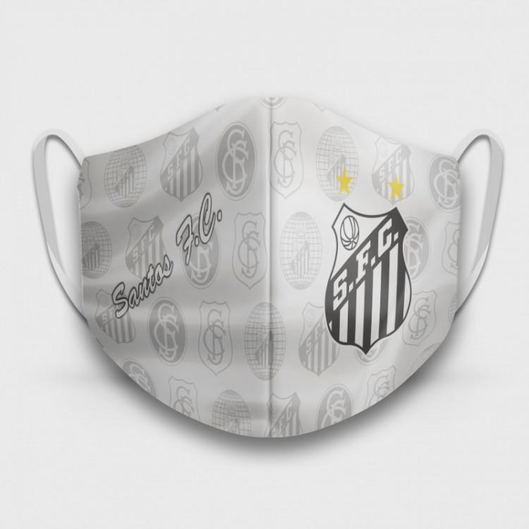 Máscara de Proteção Respiratória do Santos - Modelo Escudos Branca - Tecido 100% Poliester