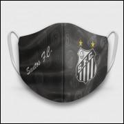Máscara de Proteção Respiratória do Santos - Modelo Escudos Preta - Tecido 100% Poliester
