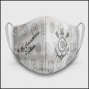 Máscara de Proteção Respiratória do Corinthians - Modelo Escudos Branca - Tecido 100% Poliester