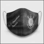 Máscara de Proteção Respiratória do Corinthians - Modelo Escudos Preta - Tecido 100% Poliester