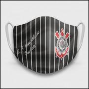 Máscara de Proteção Respiratória do Corinthians - Modelo Camisa Listrada - Tecido 100% Poliester