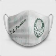 Máscara de Proteção Respiratória do Palmeiras - Modelo Escudos Branca - Tecido 100% Poliester