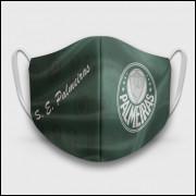 Máscara de Proteção Respiratória do Palmeiras - Modelo Escudos Verde - Tecido 100% Poliester