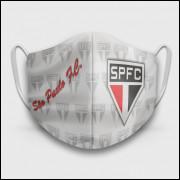 Máscara de Proteção Respiratória do São Paulo - Modelo Escudos Branca - Tecido 100% Poliester