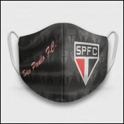 Máscara de Proteção Respiratória do São Paulo - Modelo Escudos Preta - Tecido 100% Poliester