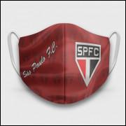 Máscara de Proteção Respiratória do São Paulo - Modelo Escudos Vermelha - Tecido 100% Poliester