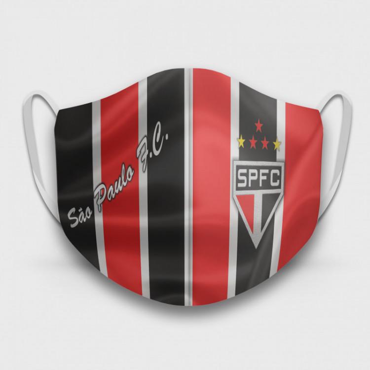 Máscara de Proteção Respiratória do São Paulo - Modelo Camisa Listrada - Tecido 100% Poliester