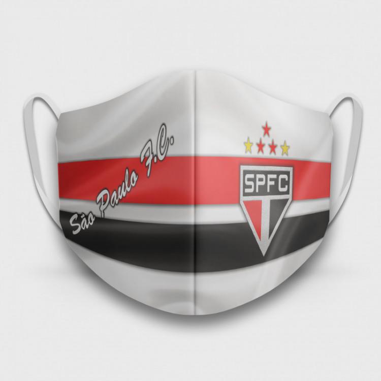 Máscara de Proteção Respiratória do São Paulo - Modelo Camisa Branca - Tecido 100% Poliester