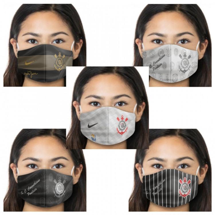 Kit Máscara de Proteção Respiratória do Corinthians - 05 Unid. - Tecido 100% Poliester