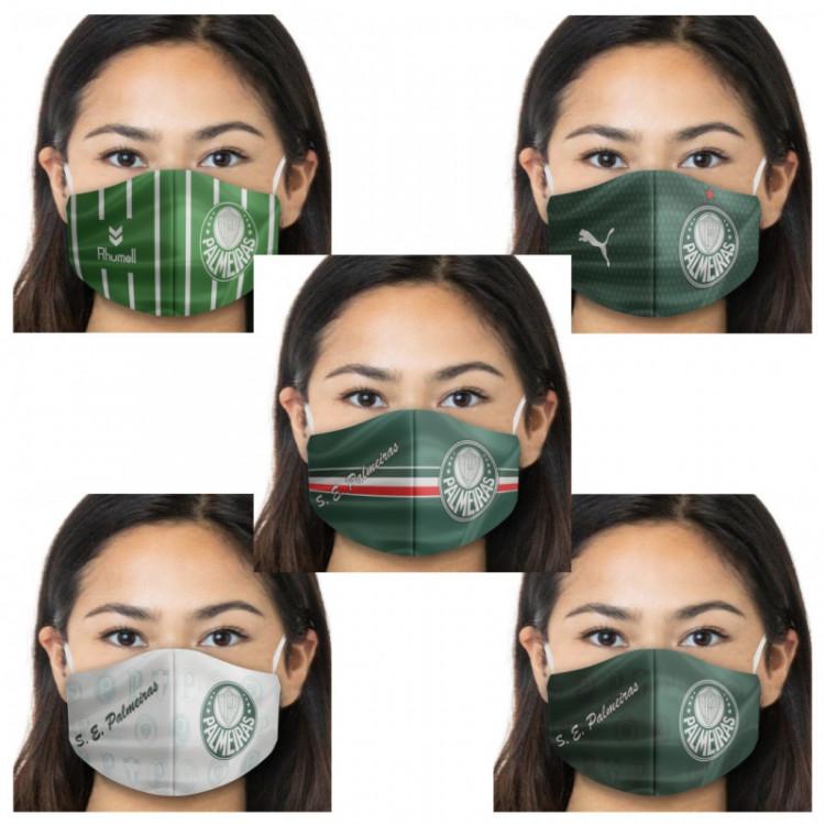 Kit Máscara de Proteção Respiratória do Palmeiras - 05 Unid. - Tecido 100% Poliester