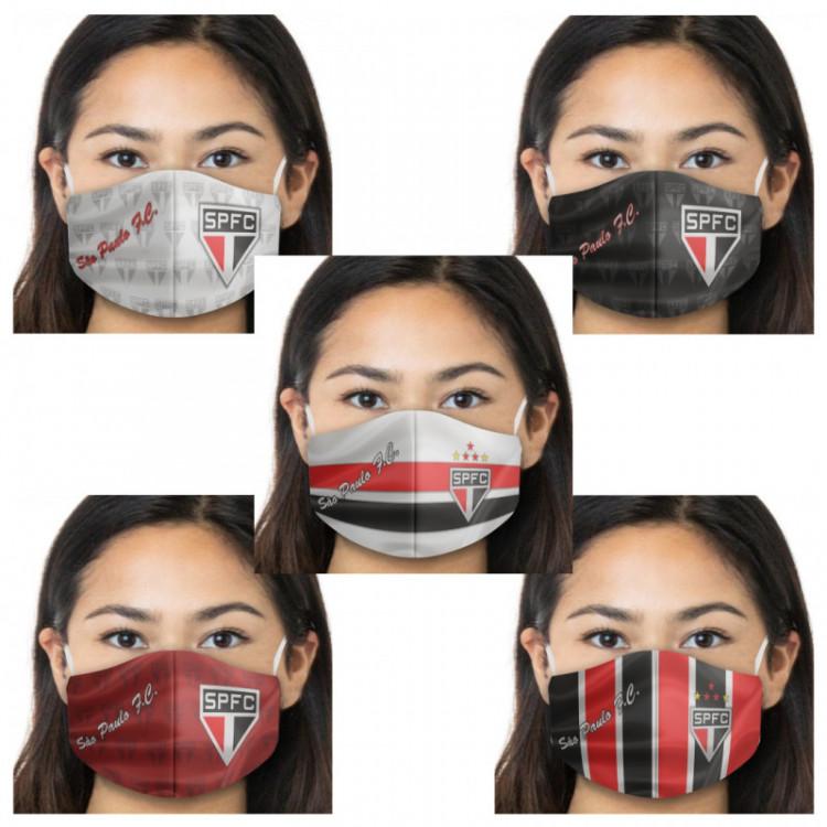 Kit Máscara de Proteção Respiratória do São Paulo - 05 Unid. - Tecido 100% Poliester