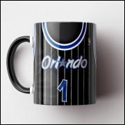 Caneca NBA Orlando Magic - Camisa Preta Retrô - Porcelana 325ml